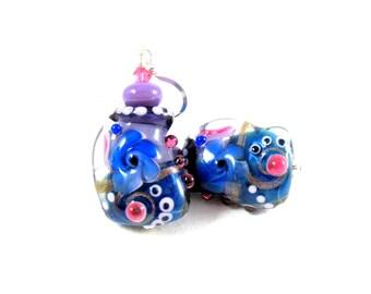 Royal Blue Purple Pink Earrings, Funky Earrings, Lampwork Earrings, Glass Earrings, Abstract Jewelry, Colorful Earrings Unique - Bamboozle
