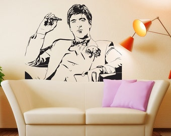 Scarface Movie Tony Montana Wall Decal Decor Sticker Vinyl Poster Wall art Scarface Wall Decal Scarface Poster Scarface Decor Scarface Art