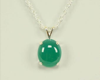 Green Onyx in Sterling Silver Pendant