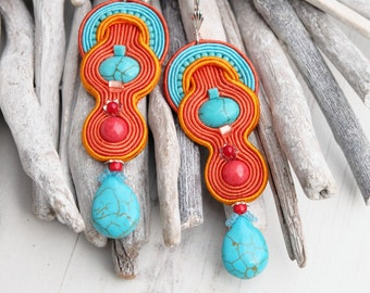 Orange Turquoise Soutache Earrings-Crystal Gemstone Earrings-Howlite Earrings Jewellery-Hippie Boho Earrings-Ethnic Beaded Dangle Earrings