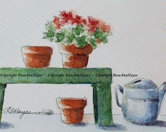 Geraniums on the Patio Original Watercolor Painting Watering Can Flower Pots