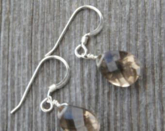SMOKY QUARTZ  Earrings. faceted briolette gemstones.  Rare AAA superior quality S.S. 9 x 12 mm /Stunning /natural/organic/ Boho/ Elegant/