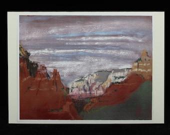 Sedona, Arizona Red Rocks Art Note Card from Southwest Pastel Painting by Karlene Voepel