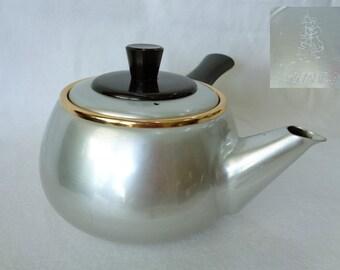 VJ1990:Kyusu teapot Kintaro ,Japanese Teaware KINTARO aluminum kyūsu vintage teapot with straining basket,marked,made in Japan