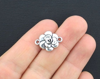8 Flower Connector Charms Antique Silver Tone - SC2761