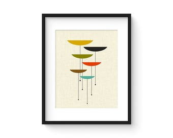 FLOAT - 8x10 Version - Giclee Print - Mid Century Modern Danish Modern Minimalist Cubist Modernist Abstract Eames