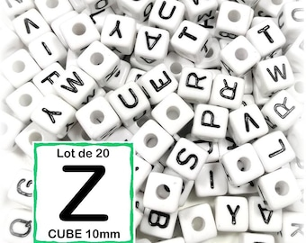 """20 pearls """"Z"""" alphabet 10 mm - 10mm cube letter beads"""