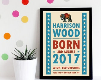 Birth Announcement Print, New Baby Gift, Nursery Decor, Nursery Wall Art, Personalised Birth Print, Baby Shower Gift, Baby Girl Gift