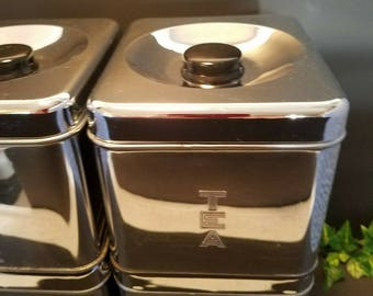 Vintage Chrome Canister Set, Retro Kitchen Cans, Metal Canister Set, Mid Century Canister, Kitchen Storage, Kitchen Decor