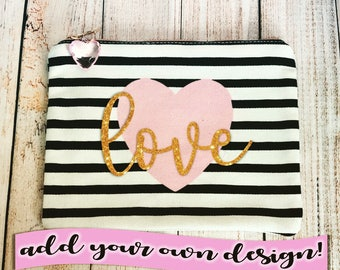 SALE - LAST ONE - Personalized Pink Heart Black & White Canvas Makeup / Pencil Bag