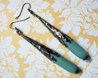 Long Frosted Teal Blue and Black Filigree Teardrop Earrings (2946)