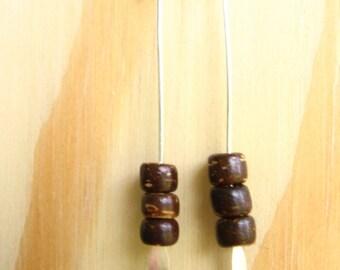 Kailyn, stacked dark coconut earrings