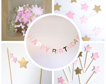 Pink and gold stars party decoration pack - garland, banner, confetti, cupcake and cake toppers