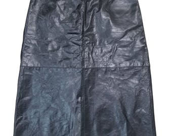 Vintage GAP Black Leather Skirt Size 16
