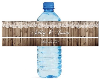 Rustic Wood and Lace Wedding Anniversary Water Bottle Labels Customizable labels