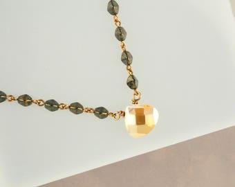 Sundance Style Gold Pendant, Boho Simplistic Necklace, Bronze and Gold, Rustic Chic, Southwest Jewelry, Layering Necklace, Minimalist