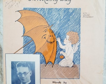 Let A Smile Be Your Umbrella, On a Rainy Day, Vntage Sheet Music, 1927, Deco, Waterson, Berlin & Snyder Co. Music Publishers