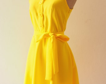 DOWNTOWN Canary Yellow Dress Lemon Club Dress Yellow Shirt Dress Yellow Bridesmaid Dress Casual Dress Inspired Vintage Style Party Dress
