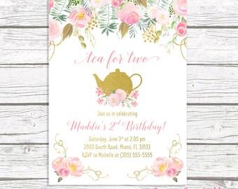 Tea for Two, Tea Party Birthday Invitation, Tea Party Invitation, Pink and Gold Birthday Invitation, Girl First Birthday Party Invitation