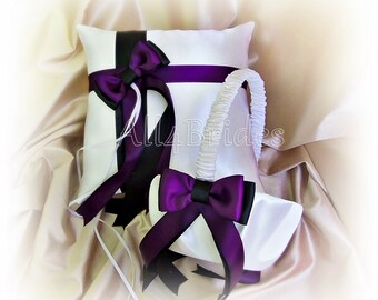 Wedding ring pillow and flower girl basket in deep grape  purple plum and black wedding colors.  Satin wedding ring cushion and basket set.