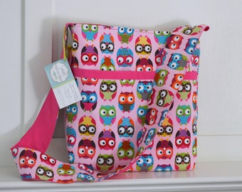 THE LIBRARY BAG - Children's Book Tote Bag with Library Card Pocket, Large Pink Owls with Pink - Ready to Ship