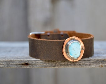 Distressed Leather Kingman Turquoise Bracelet . Handmade. Sterling  . Copper . South Western . Bracelet