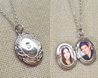 Personalized photo locket necklace with initial, handstamped custom locket necklace, locket necklace with initial