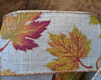 Autumn Falling Leaves Faux Linen Wired Ribbon with Gold Glitter