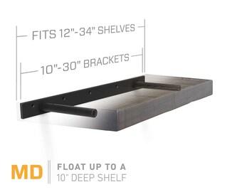 """Floating Shelf Bracket for 12"""" to 34"""" Long Floating Shelf - MEDIUM DUTY- Hardware Only (US Patent 9,861,198)"""