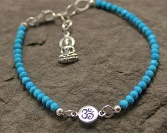 Om Buddha And Turquoise Bracelet