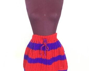 Vtg Women's handmade XS S Mini Skirt Knitted Red + Purple