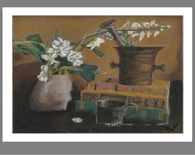"""PRINT of Original Signed Pastel Painting, Flowers and Books Artwork, """"Metal, and Books, and Flowers OH MY!"""""""