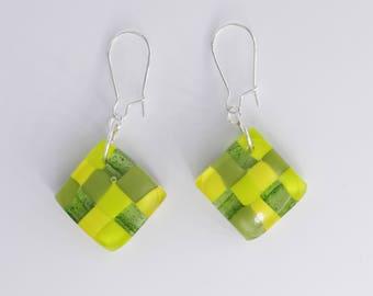 Green, Lime Green, Dangle Drop Earrings