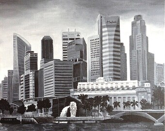 "Singapore Skyline Original painting , Acrylics on canvas, 19.7""x19.7"""