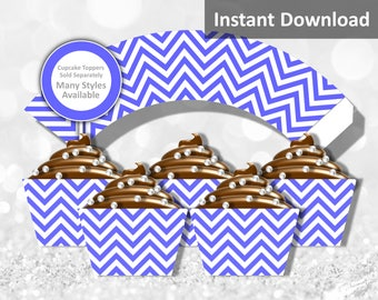 Periwinkle Chevron Cupcake Wrapper Instant Download, Party Decorations
