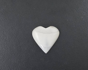 White Agate Heart Cabochon, 29x28mm, large cab, heart shaped, mgsupply, large cabochon, agate cab,  large stone, white stone,large heart cab