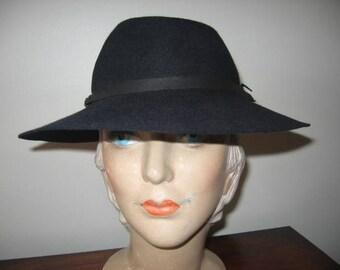 1930's Black Wool Wide Brimmed Fedora, Knox Label!