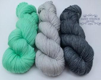 HAND DYED YARN / Sock Yarn / Superwash Merino / Indie Dyed Yarn / Sassy Kit 3