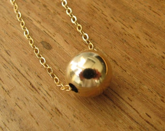 Gold necklace, ball necklace, bead necklace, minimalist necklace, gold filled ball necklace, dot necklace, bridesmaid necklace