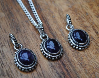 Ornate Amethyst 925 Silver-Plated Pendants