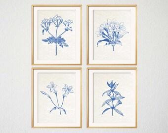 Blue White Botanical Wall Art Set of 4 Prints, Blue Botanical Art, Woodland Foliage, Blue Botanical, Floral Wall Art, Blue White Leaves
