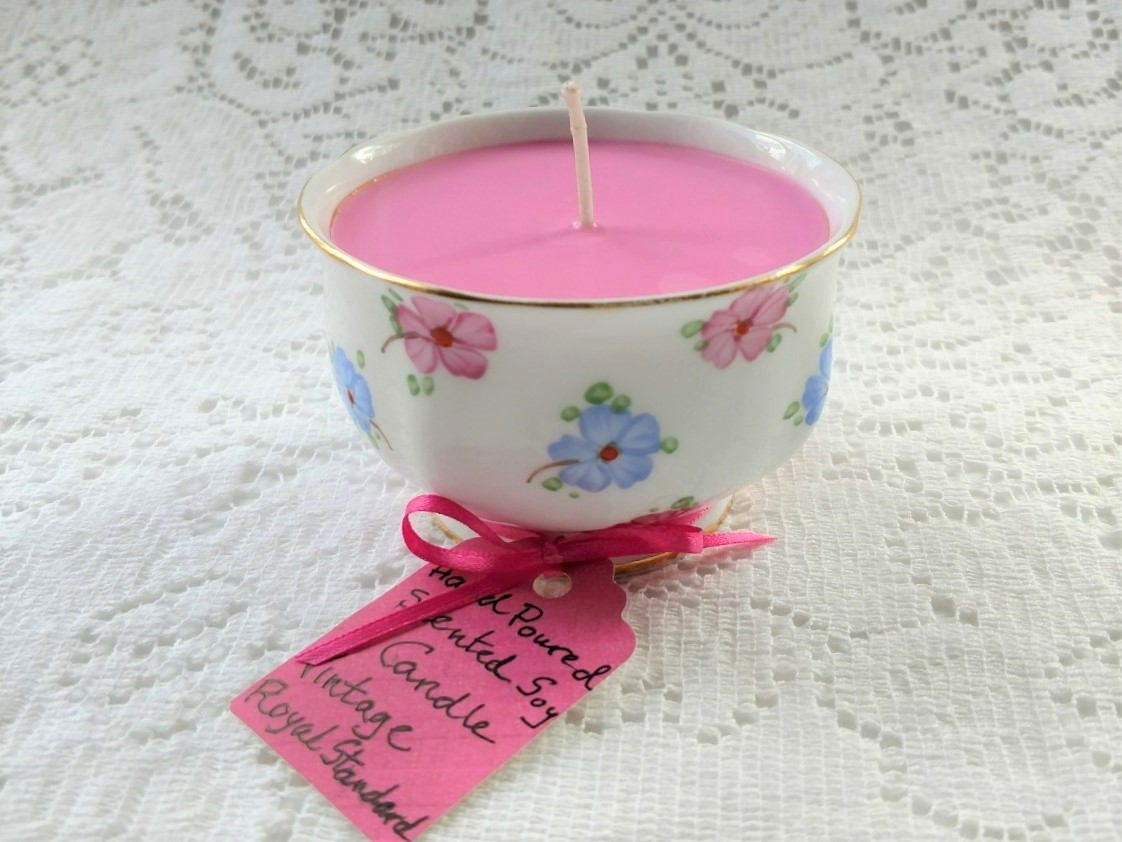 Scented Soy Candle in Vintage English Bone China Royal