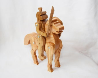 wooden toy knight and horse - wooden toy - wooden knight- wooden horse - knight toy - knight wooden toy - waldorf toy - knight with sword