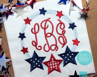 Girl Fourth of July Monogram Shirt / 4th of July Shirt/ Girl 4th of July / 4th of July Monogram / Patriotic Shirt / Red White and Blue Shirt