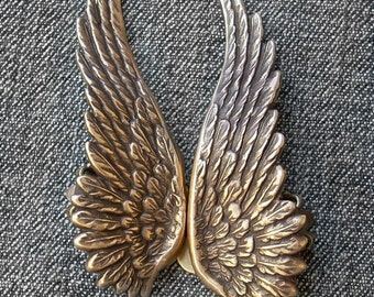 Gold Angel Wings Earrings // Antique Brass Clip-on // Premium Quality Soldered // Steampunk Jewelry gift