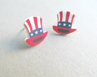 Uncle Sam Hat Stud Earrings for 4th of July, Independance day stud earrings, Stars and Stripes