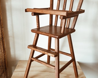 Vintage Wooden Doll High Chair