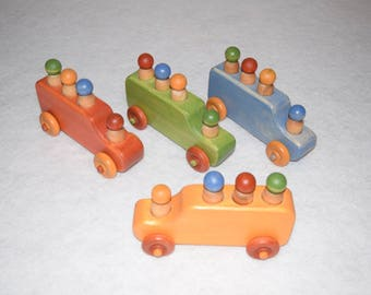 Wood toy bus.