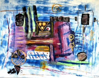 Time Machine, abstract acrylic on paper by Em'Art