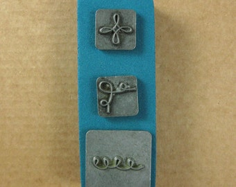 """1/2"""" Squiggles Ornamental Stamps by Melody Ross / Set of 3 / Use On Chipboard And Leather"""